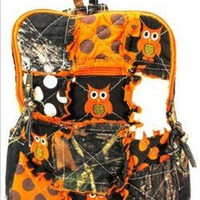 My Associates Store - Cute! Patchwork Camo Owl Small Backpack Purse Orange Camouflage