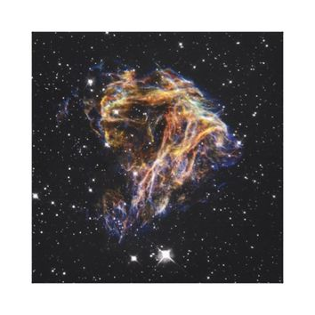 Celestial fireworks stretched canvas print