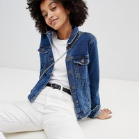 Bershka minimal denim jacket in mid blue at asos.com
