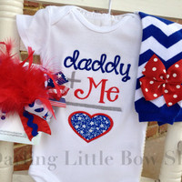 Baby Girl outfit -- Daddy is My Hero - red, white and blue- bodysuit, leg warmers and Over The Top bow - military baby - army, navy, marines