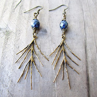 Golden Bronze Branch & Dark Blue Picasso Glass Earrings