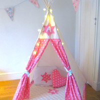 Personalized Star Initial Play Teepee - Wigwam - Pink - Blue - red