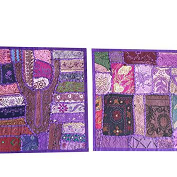Decorative Throw Cushion Cover Indian Patchwork Embroidered Cotton Purple Pillow Sham