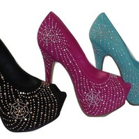 Platform Rhinestone Pumps with Peep Toe in Fuchsia Pink Mint or Black | shoes heels high heel shoes trendy shoes stilettos