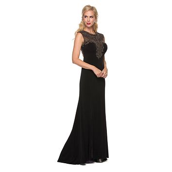 Juliet 627 Black ITY Cap Sleeves Evening Gown Illusion Beaded Neckline