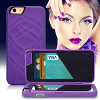 Retro Fashion Lady Card Slot + Mirror + Wallet Flip Case For iPhone 7 For iPhone 6 6S Plus 3D Water Hard Back PU Leather Cover