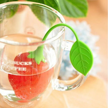 Reuseable Silicone Red Strawberry Shape Tea Bag Infuser Strainer