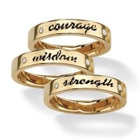 PalmBeach Jewelry Round Crystal 14k Yellow Gold-Plated Set of Three Inspirational Stack Rings