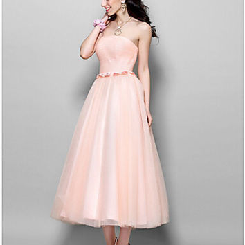 Cocktail Party Dress - Pearl Pink Plus Size  A-line / Princess Strapless Tea-length Tulle Custom made