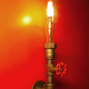 Wall lamp Beer bottle Plumbing pipe & fittings by ZALcreations