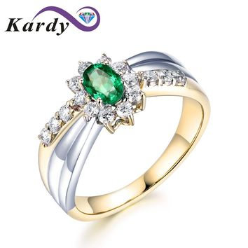 Unique Amazing Natural Emerald Gemstone Brilliant Diamond Solid 14Kt White Gold and Yellow Gold Wedding Engagement Ring for Wome