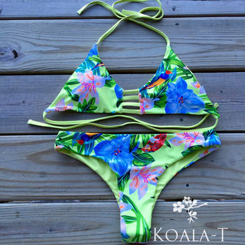 Reversible Tie Back Tropical Green Triangle Brazilian Cut Bikini