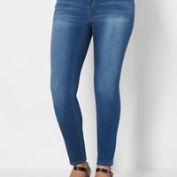 Plus Medium Blue Sandblasted Skinny Jean | Plus Skinny Jeans | rue21