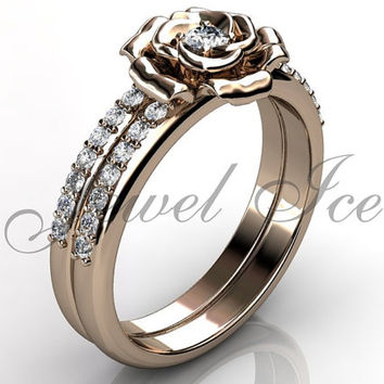 Engagement Ring Set - 14k Rose Gold Diamond Unique Flower Wedding Band Engagement Ring Set Wedding Ring Bridal Set ER-1123-3