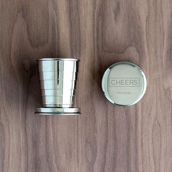 Engraved Collapsible Silver Shot Glass - Cheers Etching (Pack of 1)