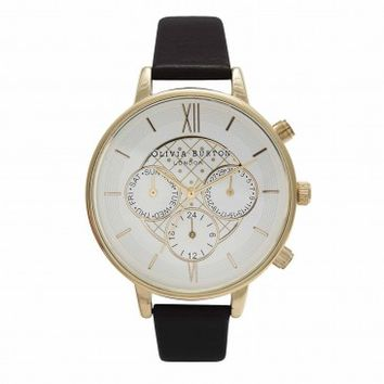 Big Dial Chrono Detail Black and Gold – Vintage inspired fashion watches by Olivia Burton