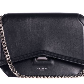 Givenchy Womens Black Leather Chain Strap Bow Cut Crossbody Bag