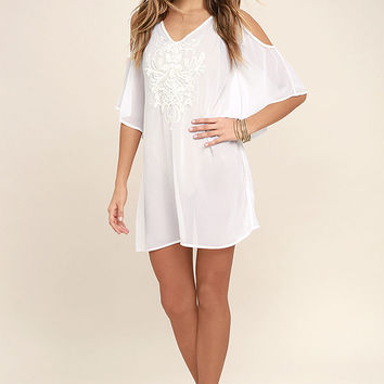 Sea La Vie White Beaded Kaftan Cover-Up