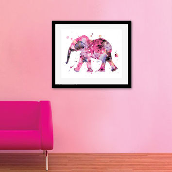 Elephant Art, Watercolor Elephant, Elephant Painting, Baby Girl Nursery, Girls Room Decor, Nursery Wall Art, Elephant Poster