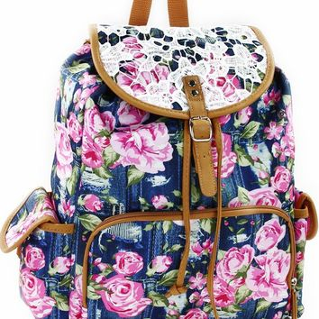 "Fall Back to School 16"" Rucksack Backpack Navy"