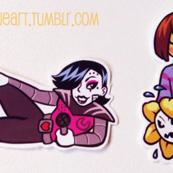 Mettaton and Frisk and Flowey 2 Inch by 1 Inch Vinyl Stickers - Undertale Fanart - Indoor and Outdoor UV Stable, Weatherproof Ink