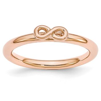 Rose Gold Tone Sterling Silver Stackable 2.5mm Infinity Symbol Ring