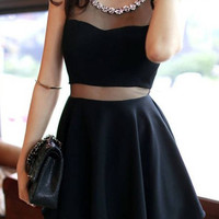 Black Mesh Panel Ruffled Dress with Rhinestone