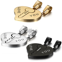 "2016 Fashion Stainless Steel Couples Key to Heart Pendants ""I Love You"" Necklace Lover Gift 3 colors Valentines day Charm"