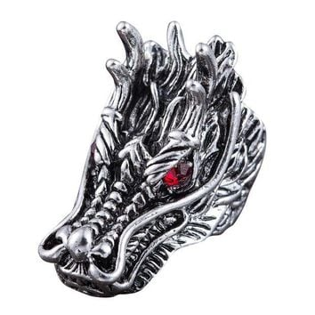 DCCKB6F Dragon Head Rings For Men Punk Rock Style Red Stone