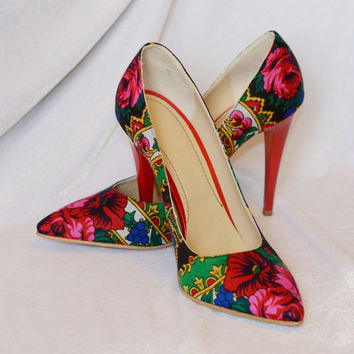 Stiletto Shoes in handmade Stiletto Red shoes Stiletto Flower Pumps Shoes