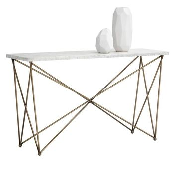 SKY ANTIQUE BRASS FINISH FRAME WITH CARRARA TOP CONSOLE TABLE
