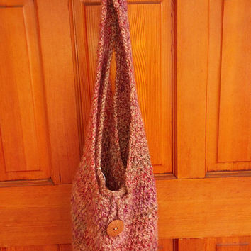 Bag, Market Tote, Loop and Wooden Button Close, Crocheted for Beach, Gym, Market,