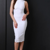 Women's Cutout Hem Turtleneck Dress