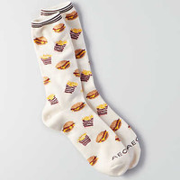 AEO Burger and Fries Crew Socks, Toasted Coconut