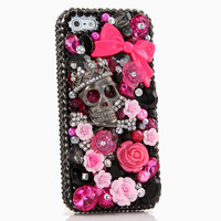 Black Skull and Wildroses Design (style 726)