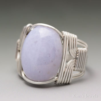 Blue Lace Agate Cabochon Sterling Silver Wire Wrapped Ring