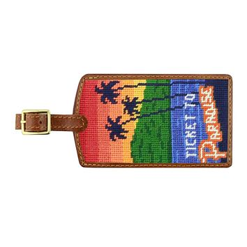 Ticket to Paradise Needlepoint Luggage Tag by Smathers & Branson