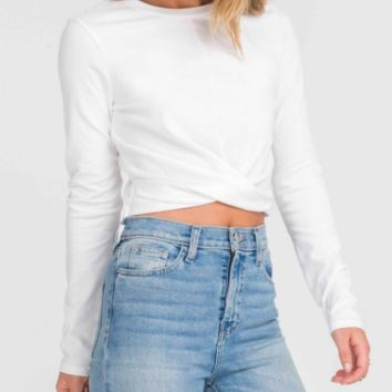 Twisted Long Sleeve Top, Ivory