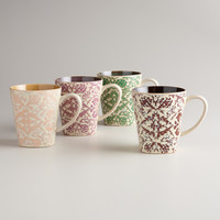 Romantic Floral Mugs, Set of 4