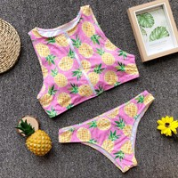 Explosion models pineapple printed bikini hot zipper ladies swimsuit swimsuit