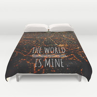 The World is Mine Duvet Cover by Louise Machado