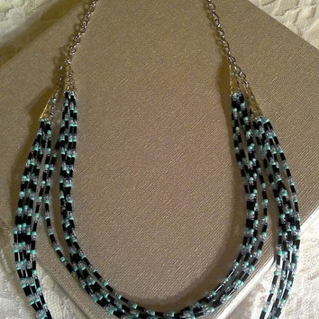 Turquoise Black Tier Necklace - Starry Night
