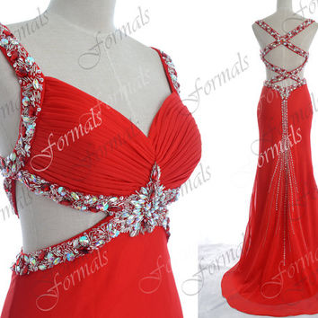 Red Prom Dresses, Sexy Formal Dresses, Straps with Crystal Long Chiffon Prom Gown with Cross Back, Sexy Evening Dresses