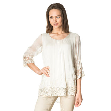 Beige embroidery silk blouse