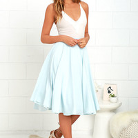 Dance Montage Light Blue Midi Skirt
