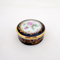 Cobalt Blue and 22K Gold Fine Porcelain Trinket Box Pill Box , Signed LIMOGES  France, UK Seller