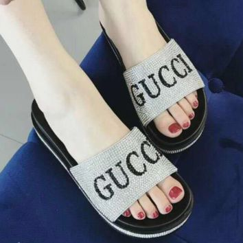CHANEL 2018 new thick bottom diamond sandals and slippers F0387-1