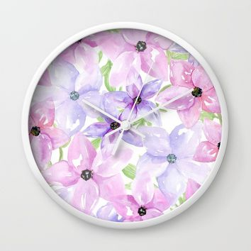 clematis vines Wall Clock by Sylvia Cook Photography