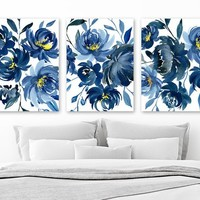 Blue WATERCOLOR Floral Wall Art, Navy Blue Watercolor Flower Art, Watercolor Decor, Floral Bedroom Decor, Set of 3 Canvas or Print Pictures