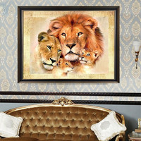 Lion Family Diamond Embroidery 5D Diamond DIY Painting Cross Stitch Home Decor